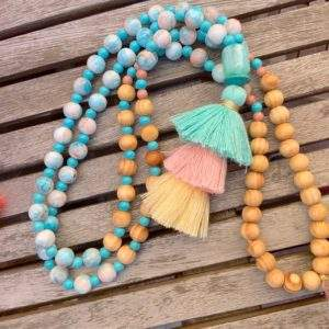 Long Coloured Bead Necklace