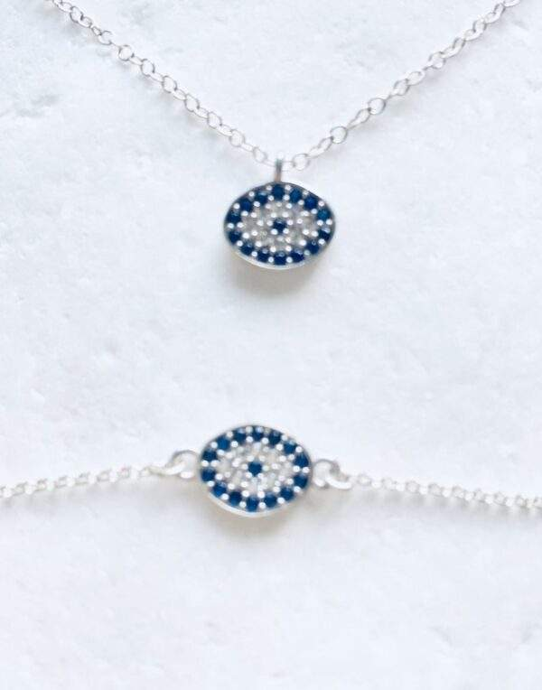 Evil eye necklace and bracelet