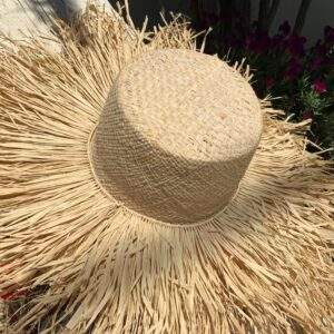 Large Straw Hat With Raffia Frill