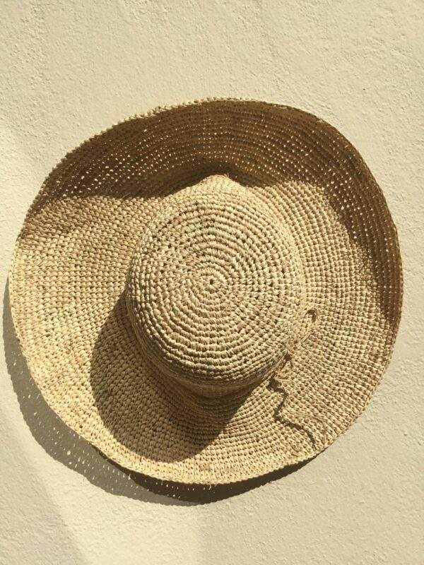 Crochet straw hat medium brim