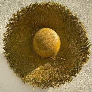 Olive Green Raffia Hat with Fringe