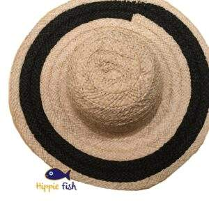 Straw hat with black straw band