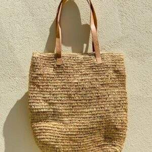 Straw Bag With Zip & Leather Straps