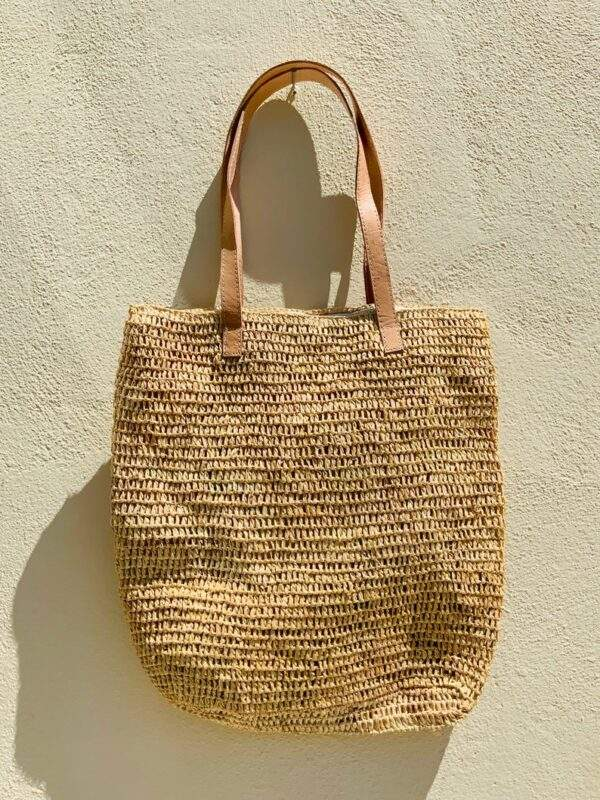 Natural Straw Bag With Zip & Leather Straps