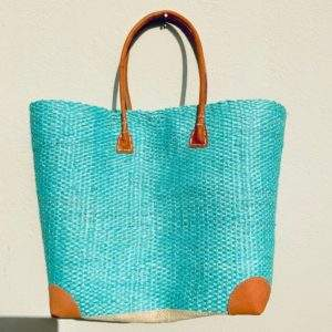 Turquoise Straw tote bag