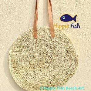 Round Straw bag with long leather handles