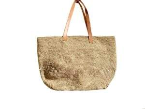 Straw bag with zip and leather straps