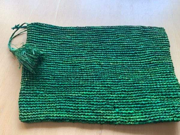 Green Straw zip pouch