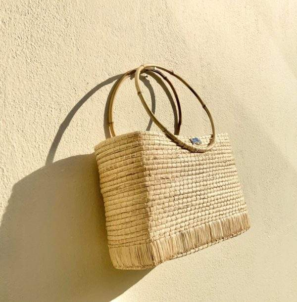 Raffia Handbag With Bamboo Handles