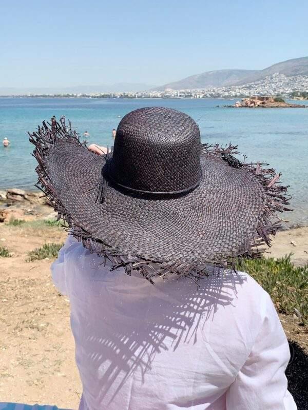 Black Wide Brim Raffia Hat With Fringe