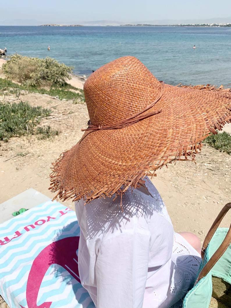 Wide Brim Raffia Sun Hat with Fringe