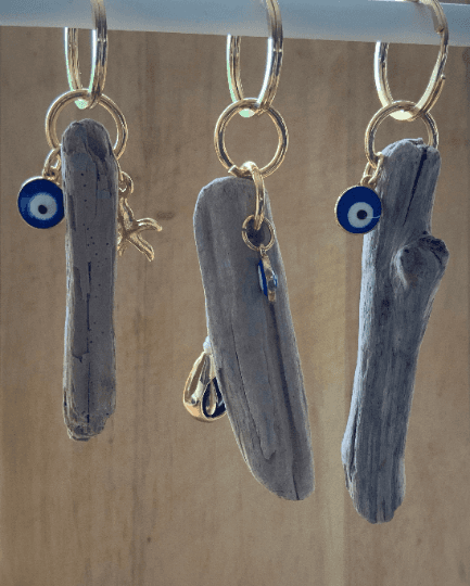 Driftwood Keyring with Charm