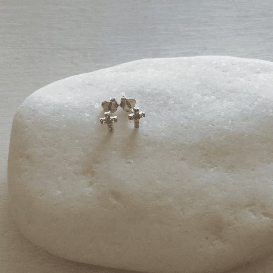 Silver Cross Stud Earrings