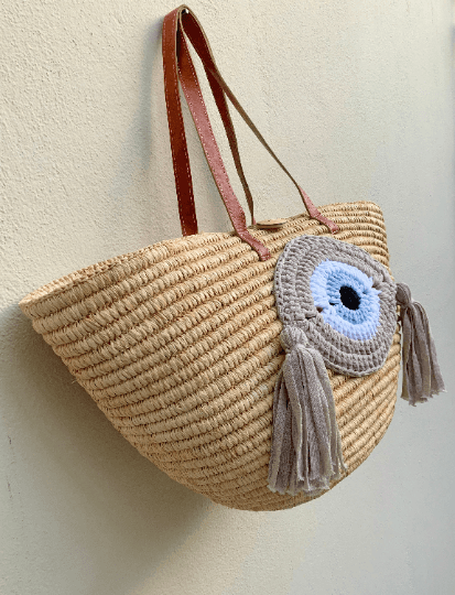 Straw Tote Basket with Crochet Evil Eye