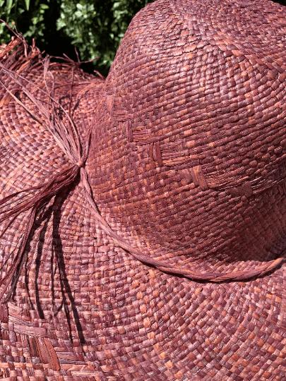 Aubergine Frayed Straw Hat