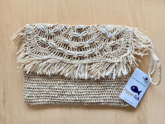 Crochet Straw Clutch Bag