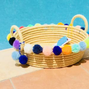 Straw Basket & Pompoms