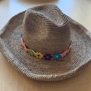 Straw Cowboy Hat With Flower Band