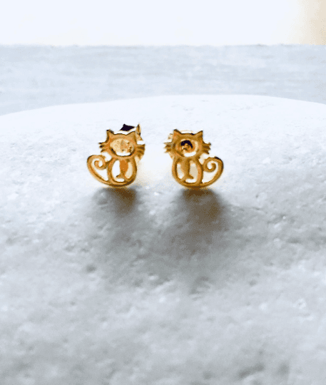 Gold Cat Stud Earrings