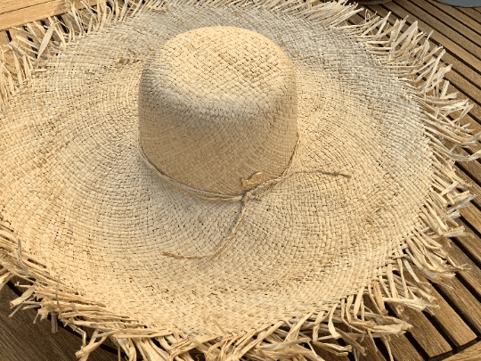 Super Large Raw Edge Raffia Hat