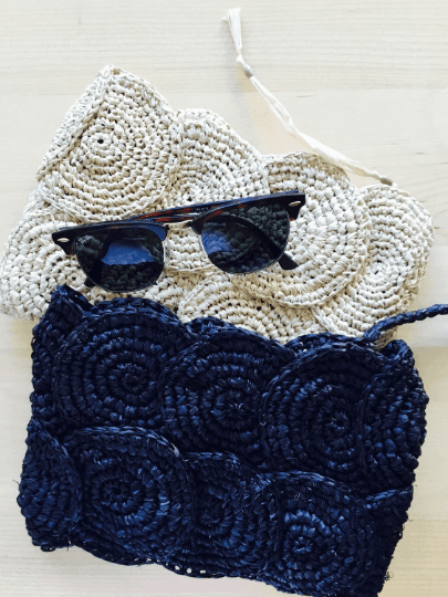 Crochet Raffia Clutch Bag