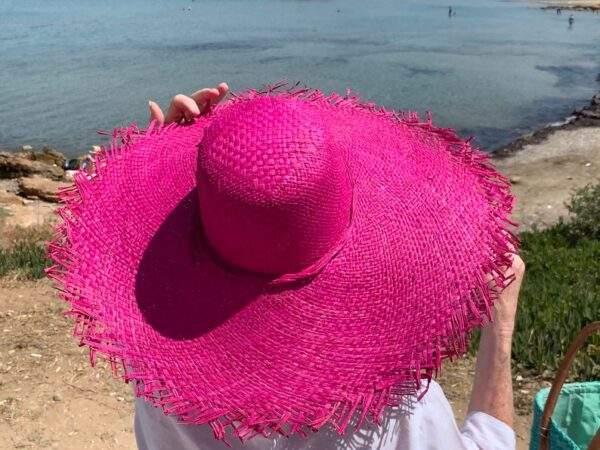Pink Raffia Hat with Fringe