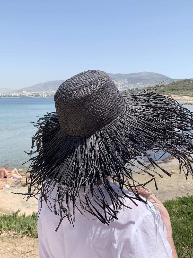 Porcupine Black Raffia Hat with Long Fringe