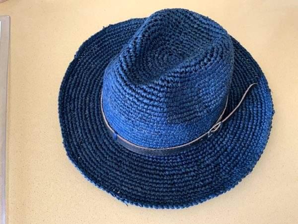 Navy Raffia Straw Panama Hat