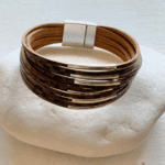 Grey Leather Cuff Bracelet