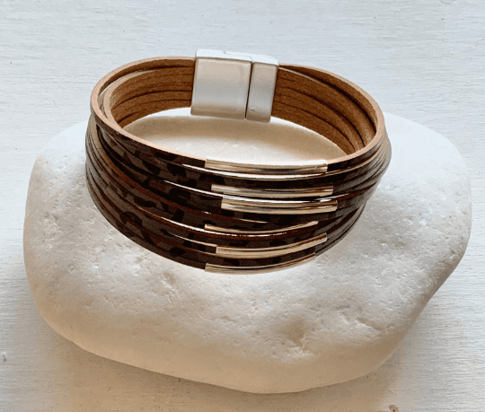 Grey Leather Cuff Bracelet