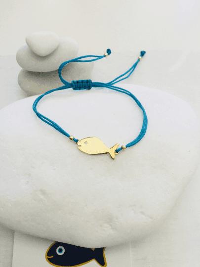 Gold Hippie Fish Charm Macrame Bracelet