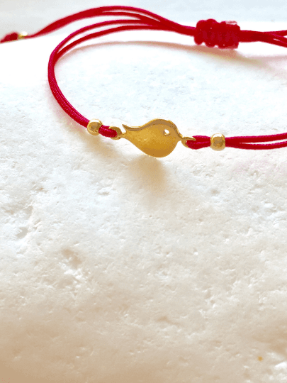 Gold Bird Charm Macrame Bracelet