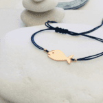 Rose Gold Hippie Fish Charm Macrame Bracelet