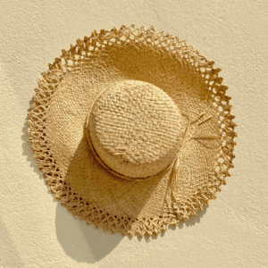 Raffia Sun Hat with Woven Edge