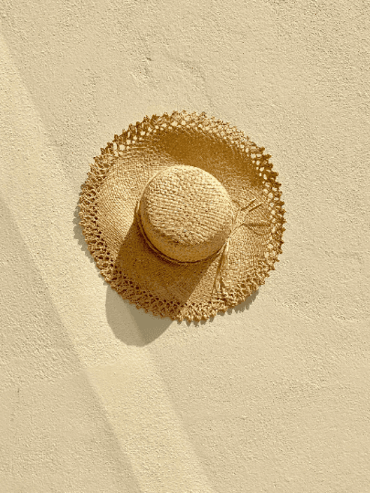 French Woven Edge Raffia Hat