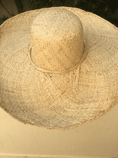 Straw Covered Hat with Large Brim