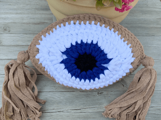 Crochet Eye Cushion Almond Beige Small