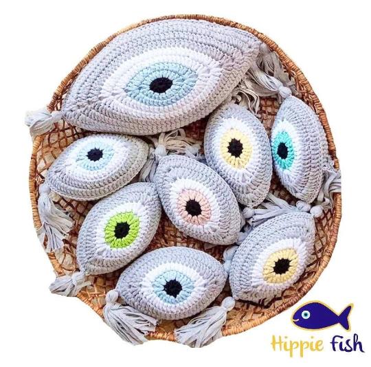 Crochet Eye Cushion Light Grey & Lemon Small