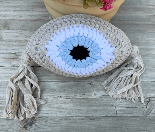 Crochet Eye Cushion Beige Small