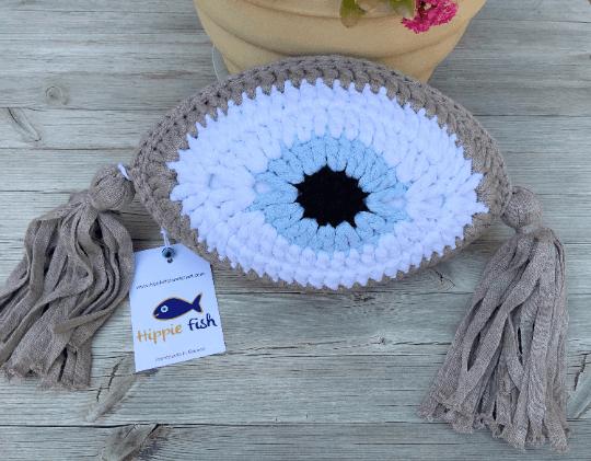 Crochet Eye Cushion Brown Small