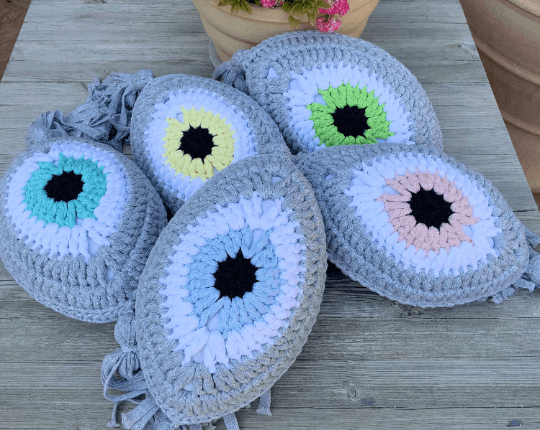 Crochet Eye Cushion Light Grey & Lemon Small