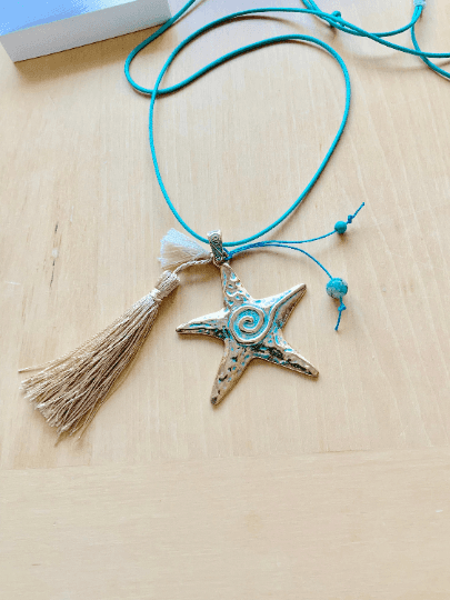 Gold Starfish Charm Long Necklace