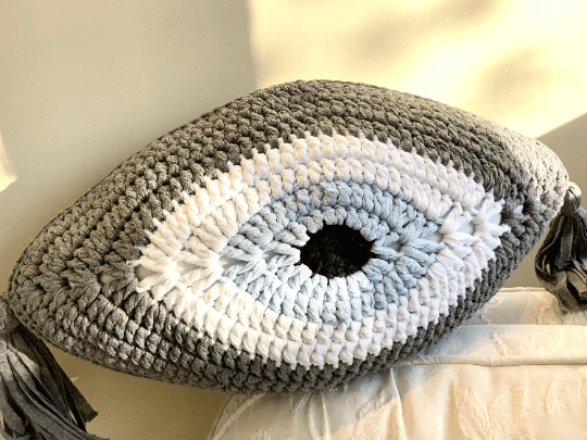 Crochet Eye Cushion Dark Grey