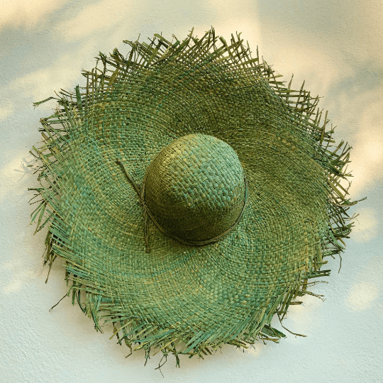 Lime Green Raffia Hat
