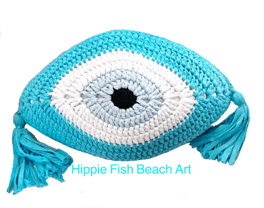 Crochet Eye Cushion Turquoise