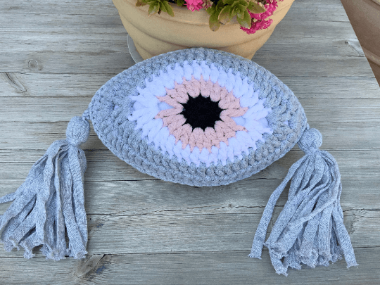 Crochet Eye Cushion Light Grey & Pink Small