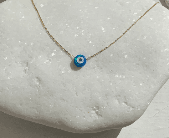 Turquoise Round Evil Eye Charm Necklace
