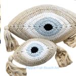 Crochet Eye Cushion Beige