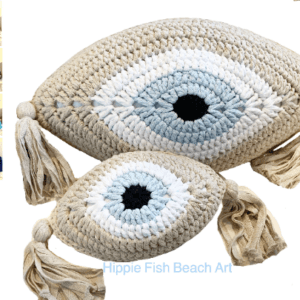 Crochet Eye Cushion Beige