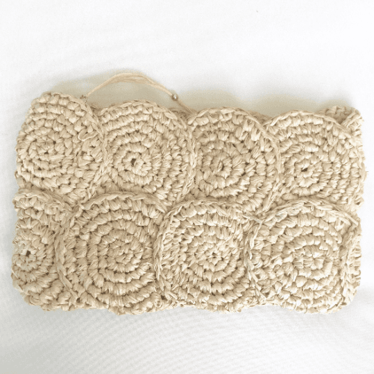 Natural Crochet Raffia Clutch Bag